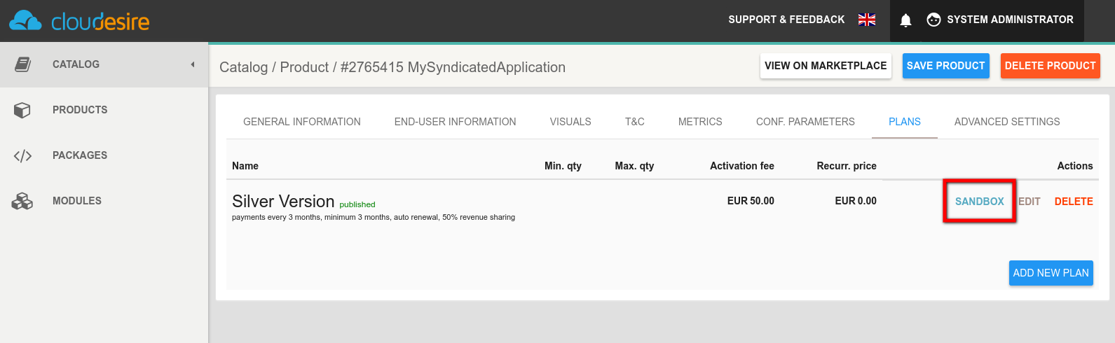 Vendors Control Panel: Syndication -Sandbox