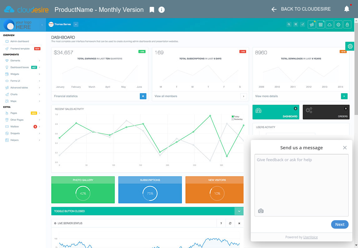 Customer Dashboard - running application